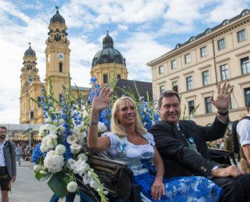Bayerns Ministerpraesident Dr. Markus Soeder nimmt am Sonntag (23.09.18) in Muenchen am Trachten- und Schuetzenzug zum 185. Oktoberfest teil.