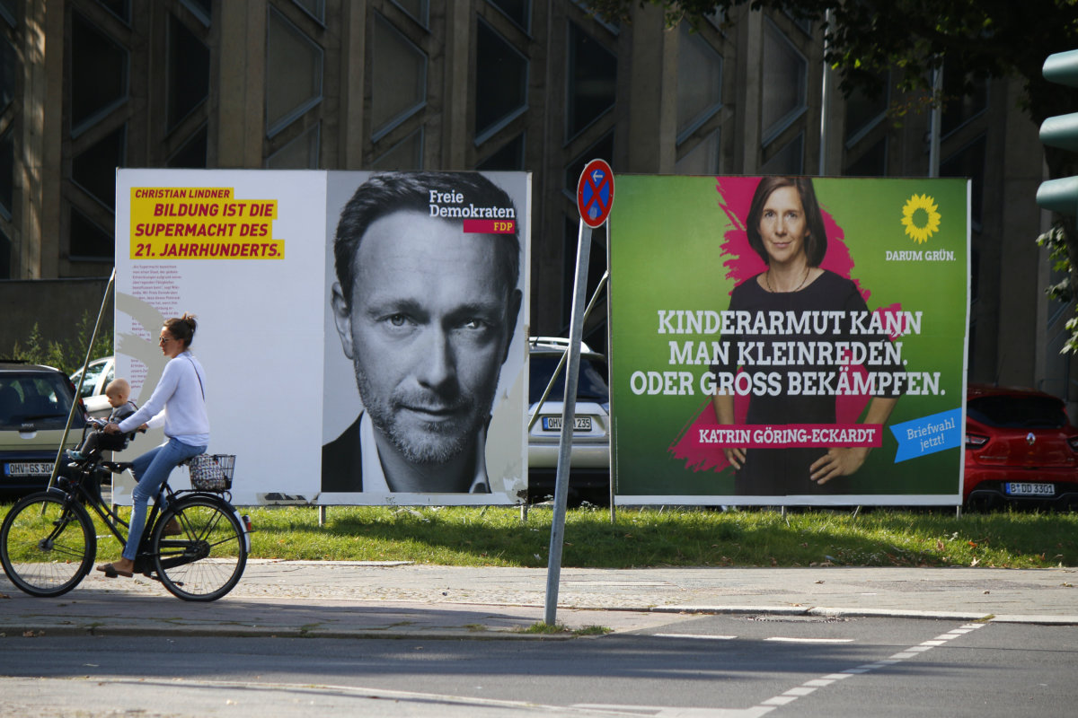 SEPTEMBER 4, 2017 - BERLIN: an election poster showing Christian Lindner (FDP) and Katrin Goering-Eckart (Green Party) to the upcoming general elections in Germany.